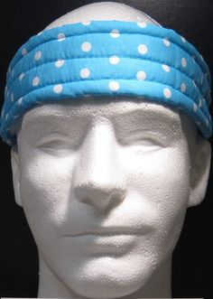Ultimate Sweatband/Headband - Blue with white dots by BondPracticalProduct on Etsy