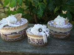 Rustic chic gift boxes. Perfect for a bridesmaid gift! By PaperAndMache.etsy.com