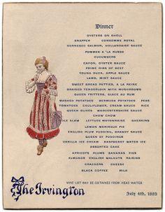 The Irvington, Altantic City, N.J., July 4, 1893. Dinner Menu.