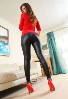 Nice bum #red #heels #black #tights
