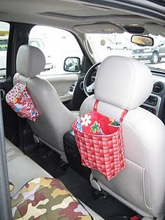 Bags for backseat of car - these are SO on my to-do list!! I would like these to keep things the kids use on their side of the car, and will make another for the front for rubbish.