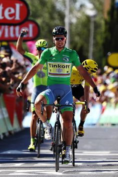 #TDF2016 Peter Sagan of Slovakia riding for Tinkoff in the green sprinters jersey takes the stage win from Chris Froome of Great Britain riding for Team Sky...