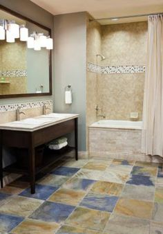 Bathroom Gallery | Inspiration | The Tile Shop  Awesome floor tile, maybe only for larger bathrooms