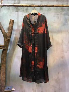 Ladylike Chinese Ink Painting Loose Cardigan Long Chiffon Clothes  #cardigan #elegant #print #long #chiffon #ink #red #amazing #highquality