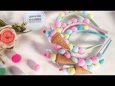 Diy Hair Bows, Diy Bow, Pom Pom Crafts, Flower Crafts, Fabric Headbands, Hair Jewelry, Wedding Jewelry, Wedding Hair Accessories, Diy Hairstyles