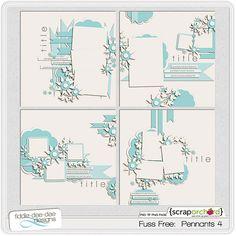 Digital Scrapbook Template - Pennants 4 | FiddleDeeDee