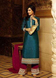 Dark Green Pure Silk Fancy Border Plazzo Suit #SalwarSuits #snapdeal #India