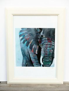 Elephant Art Print by coocoovaya Quirky Art, Colorful Animals, Elephant Art, Cow Print, Wildlife Art, Framed Art Prints, Art Art, Art For Kids, Original Paintings