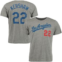 Clayton Kershaw Los Angeles Dodgers Majestic Threads Premium Tri-Blend Name & Number T-Shirt - Gray