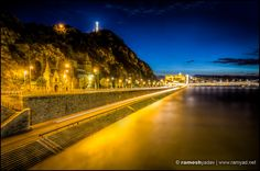 Gellert Hill at night - Budapest, Hungary - Architecture and Landscape Photographer Surrey London Budapest Travel, Complimentary Colors, Budapest Hungary, Landscape Photographers, Surrey, Railroad Tracks, Travel Photography, Sky, London