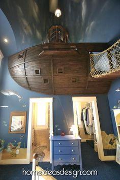 Unique Bedroom Decoration in Pirate Ship Theme - A Large Pirate Ship which is above the Bedroom Door