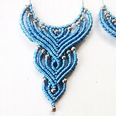 """""""Blue long beaded"""" macrame earrings. The size is 4 inch with earwire. Materials: blue nylon macrame cord 0,8mm, metallic beads 3mm, metallic hoop connector, nickel free earwire. my own work and design colorful earrings perfect match to casual style and make it bright and stylish"""