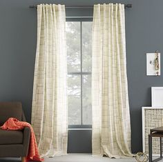 Cotton Canvas Etched Grid Curtain - Slate