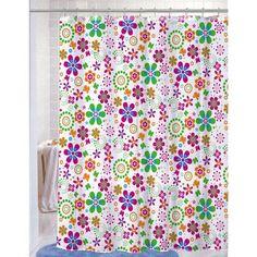 "PEVA Shower Curtain With Matching Metal Hooks, 70""""x72"""", Floral Geometric Print, Melissa"