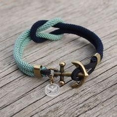 Nautical Anchor Bracelets - The Swedish Original by MarisSalNautical Nautical Square Knot Bracelet with anchor - Navy & Mint Hand crafted original nautical jewelry from Sweden since 1995 marissal. Nautical Bracelet, Nautical Jewelry, Nautical Knots, Nautical Anchor, Nautical Theme, Square Knot Bracelets, Bracelets For Men, Anchor Bracelets, Leather Jewelry