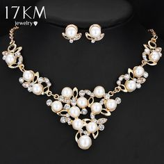 Crystal Flower Necklace and Earring Set Gold simulated Pearl Pendant Jewelry Set for Women sieraden Sets Necklace Sets