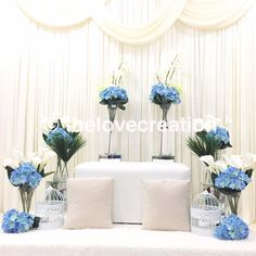 Mini Pelamin Tunang or Nikah by The Love Creation. Any Booking or Enquiries, Whatsapp Reception Decorations, Wedding Centerpieces, Pelamin Simple, Dream Wedding, Wedding Blue, Wedding Dreams, E Day, Marie, Wedding Photography