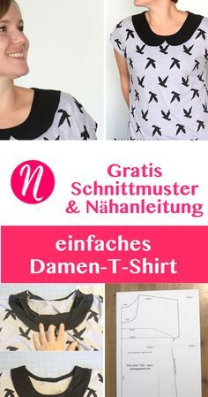 Kostenloses Schnittmuster für ein einfaches Damen-T-Shirt - mit oder ohne Peter-Pan-Kragen ❤ Größe L ❤ Nähtalente - Magazin für kostenlose Schnittmuster - Free Sewing Pattern for an easy woman t-shirt with peter pan collar. Size L.