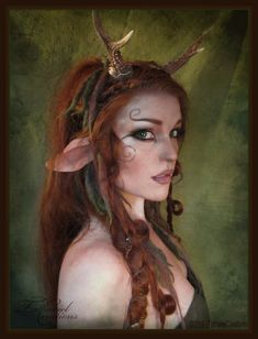 Getting my faun on! Some latex ears, antlers, makeup and huge lenses does the trick when you wanna stray away form humanity   ~  I did this look for my lovely friend who has made the pretty Elflocks I'm wearing.   You can find her page here http://www.woodland-wild.com/ , and her store here http://www.etsy.com/shop/woodlandwild | Need more Halloween makeup ideas? Follow us here --> http://www.pinterest.com/thevioletvixen/halloween-makeup-insanity/
