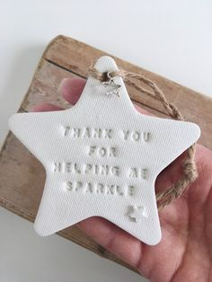 Your place to buy and sell all things handmade Teacher's gift / white clay star / Christmas gift / end of Christmas Clay, Teacher Christmas Gifts, Christmas Crafts, Handmade Teacher Gifts, Personalized Teacher Gifts, Stars Craft, Easy Diy Gifts, Clay Ornaments, Handmade Headbands