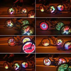 Aliexpress.com: Comprar 128 LED RGB Impermeable Rueda Bicicleta Bici Luz Cambio de Color Frío Programable Bicicleta Luz Del Neumático de la Rueda de La Lámpara de lamp 20w fiable proveedores en Sports Zone-Keep you heathy