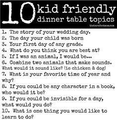 Kid friendly dinner table topics