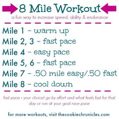 Fitness Motivation : Illustration Description New 8 Mile Workout which is engaging and challenging in a good way! Work on your tempo paces and customize it to fit your current training plans -Read More – Speed Workout, Treadmill Workouts, Track Workout, Running Workouts, Running Tips, Tempo Run Workout, Running Plans, Running Humor, Fit Girl Motivation