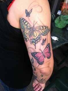 40 Amazing Butterfly Tattoo Designs for Boys and Girls Star Sleeve Tattoo, Butterfly Tattoo Meaning, Butterfly Tattoo On Shoulder, Butterfly Tattoos For Women, Butterfly Tattoo Designs, Arm Tattoo, Sleeve Tattoos, Cover Up Tattoos, Foot Tattoos