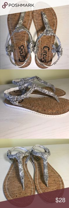 Sam Edelman Sandals Circus by Sam Edelman Shaw T-strap sandals. Black and white snakeskin pattern on straps. Cork insole. NWT. Comes with original box. Sam Edelman Shoes Sandals