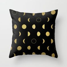 Gold Moon Phases Throw Pillow by laurafrere Moon Phases, Manga, Graphic, Louis Vuitton Monogram, Illustration, Throw Pillows, Patterns, Gold, Pattern