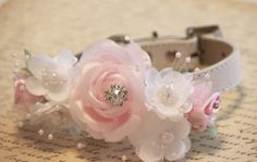 Pink White Floral Dog Collar  High Quality Collar by LADogStore, $32.50