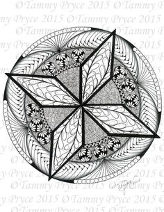 Hand Drawn Star Mandala Adult Coloring Page Digi Stamp Instant Download Printable PDF