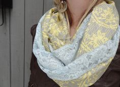 Blue vintage lace infinity scarf by PaleDesign on Etsy, $29.00