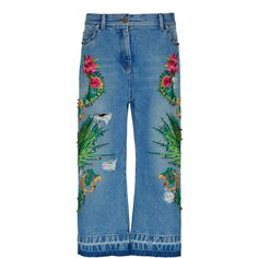 Versace Embroidered Cropped Denim (54.870 ARS) ❤ liked on Polyvore featuring jeans, blue and versace