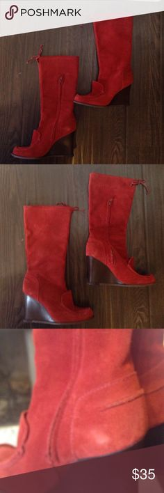 BCBG GIRLS Burnt Orange boots Size 6 1/2b These boots are definitely made for walking ! Comfortable wedge hill. Very minor discolor as seen in photo. Great find! BCBGirls Shoes Heeled Boots