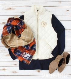 No Fall Outfit is complete without a Monogrammed Puffy Vest & Blanket Scarf!  Vest: https://marleylilly.com/product/monogrammed-puffy-vest/  Scarf: https://marleylilly.com/product/monogrammed-blanket-scarf/