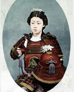 Photo of an Onna-Bugeisha, female Samurai warrior of feudal Japan. 1800's. Samurai clans trained their daughters in the art of combat to either defend their homes when husbands went to war or for battle.  Battle scene forensic have shown that up to 30% of remains are female. History doesn't mention these heroines.