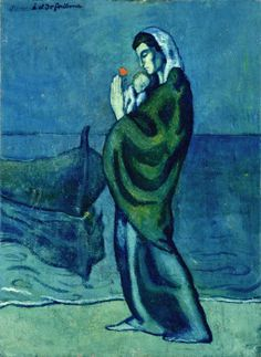 Pblo Picasso, during the Blue Period, Elio Gervasi selected. Pablo Picasso, Kunst Picasso, Art Picasso, Picasso Blue, Picasso Paintings, Spanish Painters, Spanish Artists, Guernica, Cubist Movement