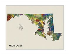 MARYLAND Map, Map of Maryland, Maryland, BALTIMORE, Baltimore Map, Annapolis, ORIOLES, Ravens, Terps, Naval Academy, State Maps on Etsy, $18.50