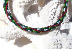 Holiday color friendship kumihimo bracelet by SweetEscapeBracelets