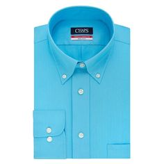Men's Chaps Regular-Fit Wrinkle-Free Herringbone Dress Shirt, Size: M-34/35, Turquoise/Blue (Turq/Aqua)