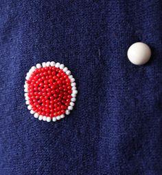 Schiaparelli - Cardigan 'Pois' - Maille et Perles - Années 50