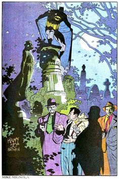 Pin-up by Mike Mignola from Detective Comics #599, published by DC Comics, April 1989.