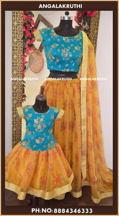 Mother and Daughter matching dress designs by Angalakruthi boutique Bangalore Half Saree Designs, Lehenga Designs, Dress Designs, Blouse Designs, Designer Wear, Designer Dresses, Mom Daughter Matching Dresses, Wedding Lenghas, Mother Daughter Fashion