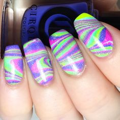 Neon watermarble with holo top coat
