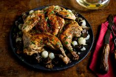 Craig Claiborne's Smothered Chicken With Mushrooms by Sam Sifton- Kosher keepers:  sub non-dairy margarine for butter here.