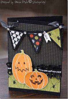 Cute Halloween Card Making Halloween Paper Crafts, Manualidades Halloween, Up Halloween, Halloween Cards, Halloween Scrapbook, Halloween Banner, Fall Cards, Holiday Cards, Hallowen Ideas