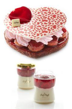 2014 - Amour de baba et Tchin à l'amour - Guy Krenzer - Lenôtre.  Amour de baba : baba revisité avec une compotée fraise gingembre, des mini babas au sirop de fraise, une bavaroise vanille et une crème fouettée fraise. Tchin à l'amour dissimule, sous un aspect de bouchon de champagne, une gelée de champagne rosé aux framboises entières sur un biscuit cuiller rose et une mousse mascarpone. 28€ (2 personnes) et 6,90€ (la pièce)