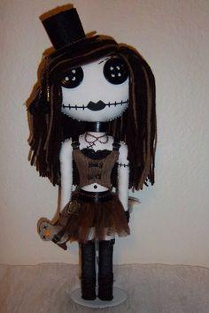 steampunk goth doll by DarkRoseCreations on etsy