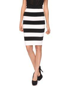 Longline Stripe Bandage Skirt